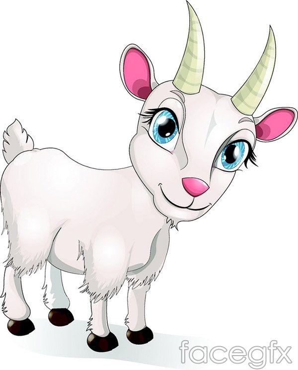 Cute Cartoon Goat Vector Goat Cartoon Animal Drawings Cute Cartoon