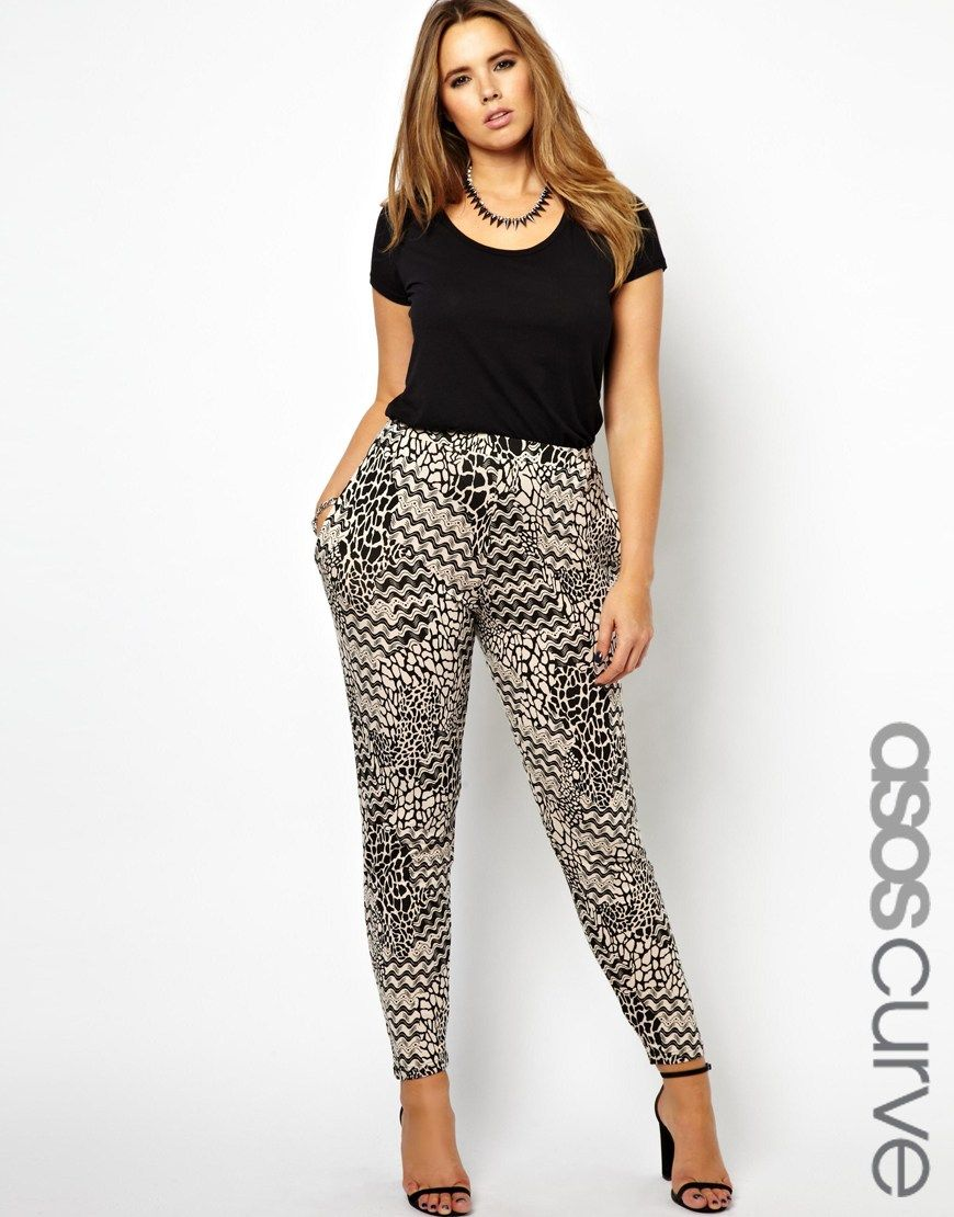 ASOS CURVE Exclusive Peg Trouser In Abstract Mono Print at asos.com