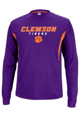 J. America  Clemson Tigers Polyester Long Sleeve Tee with Side Inserts