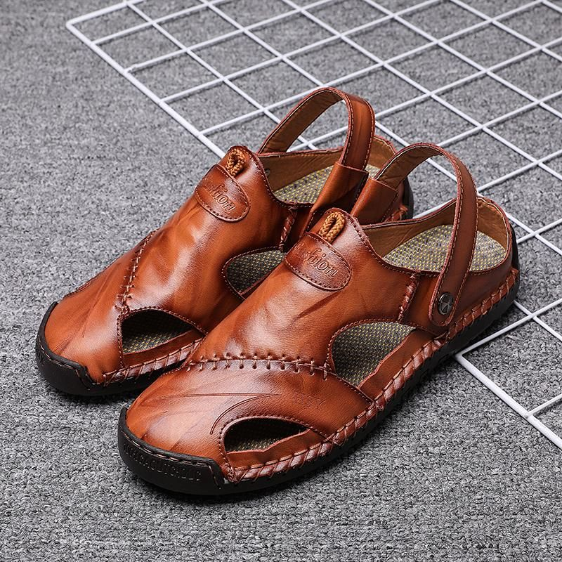 Men/'s Faux Leather Closed Toe Hollow Out Beach Summer Sandals Slipper Shoes Size