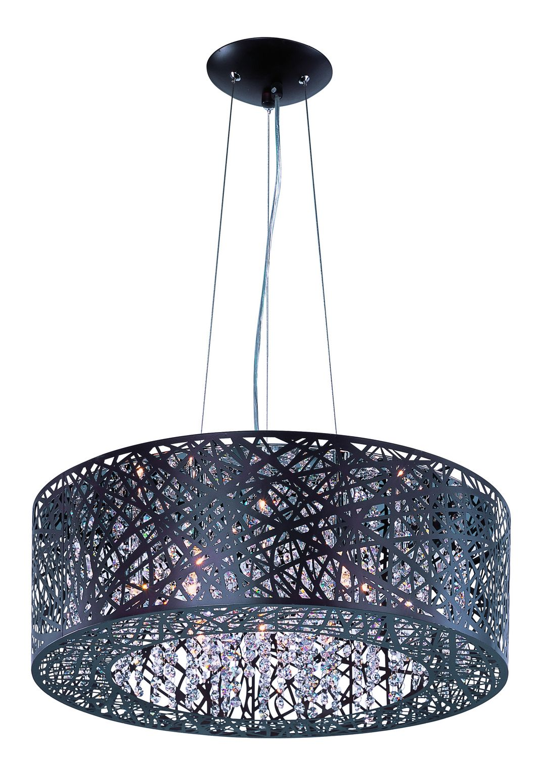 Nine Light Pendant, drum shade, bronze, crystal, contemporary chandelier, foyer, dining room