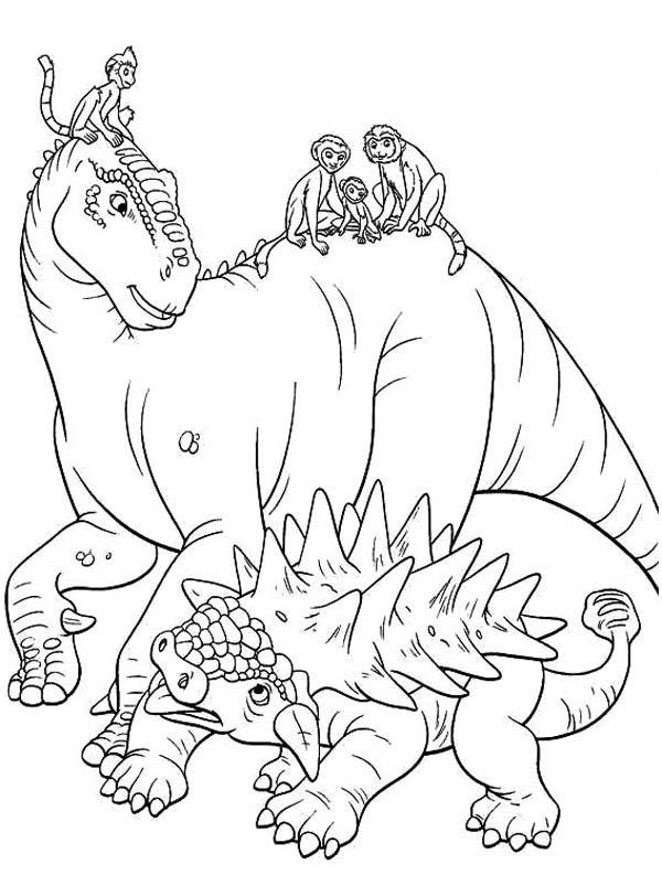 Aladar And Lemur With Friends Dinosaur Coloring Page Color Luna Dinosaur Coloring Pages Dinosaur Coloring Animal Coloring Pages