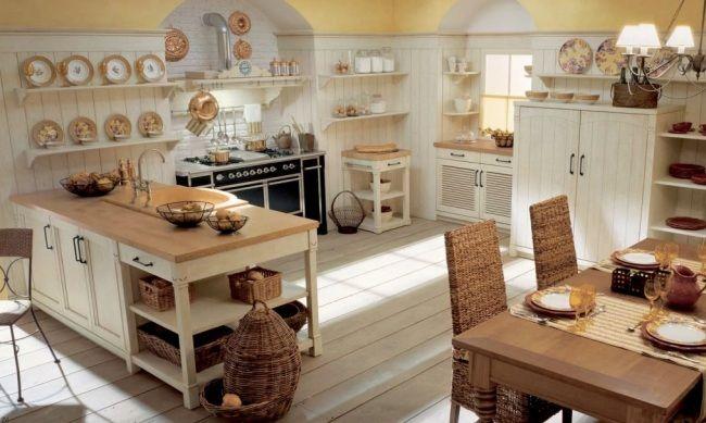 Wohnideen Country wohnideen landhausküche toskana flair creme holz rattan stühle körbe