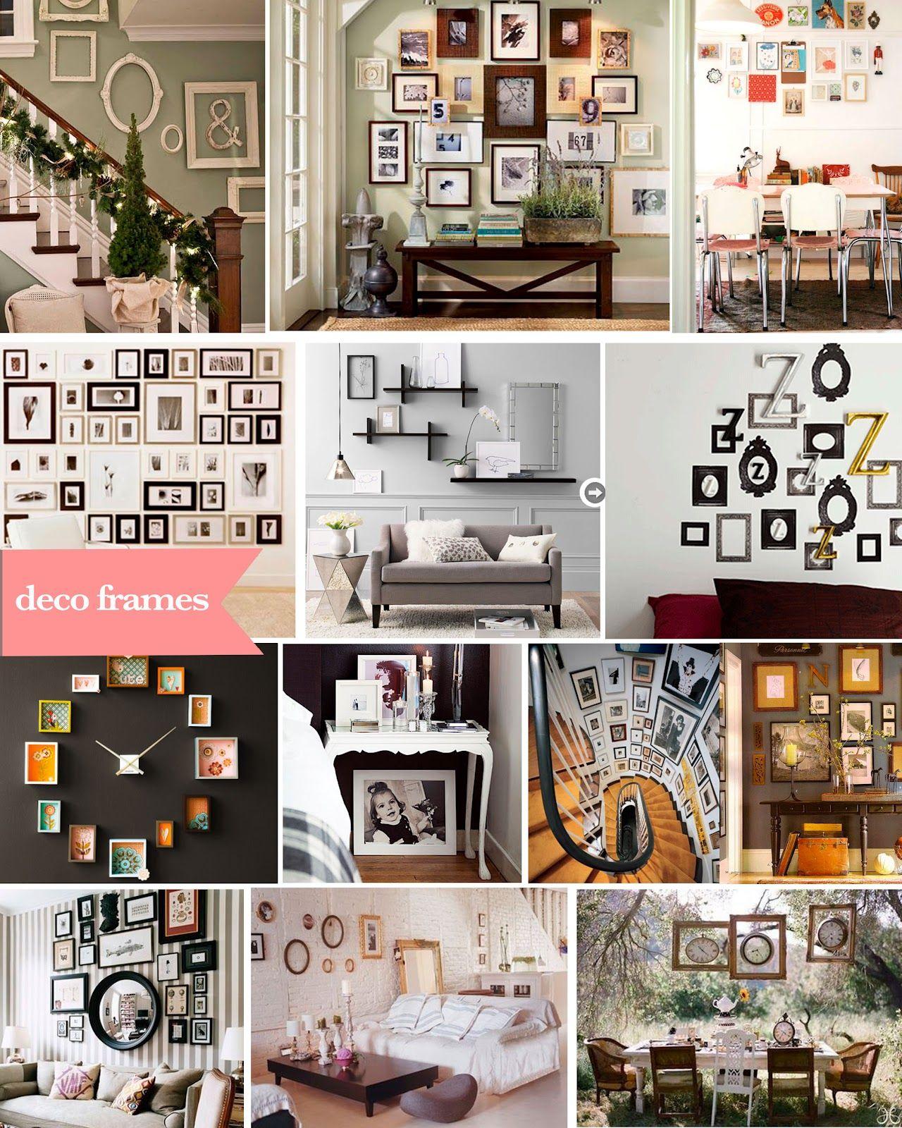 Para decorar con fotos o solo con los marcos. Me gusta el reloj ...