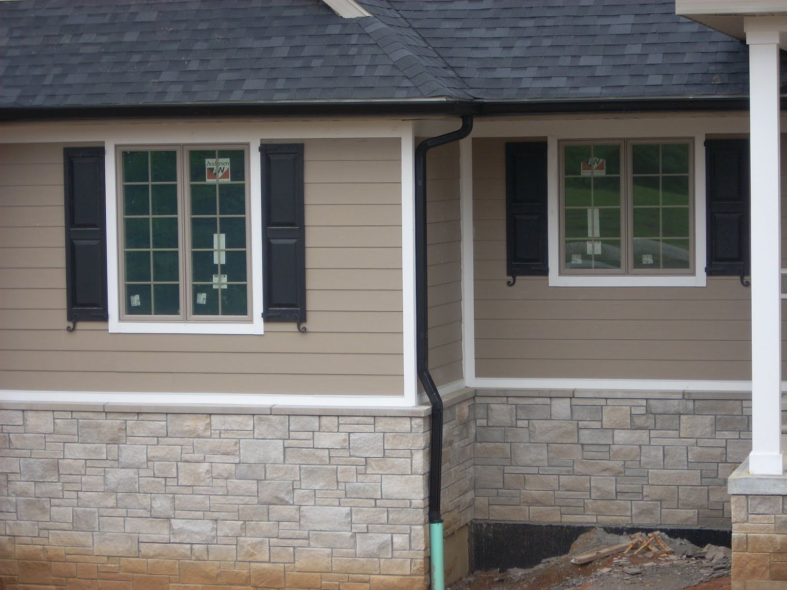 Gutters And Lights Exterior House Colors Tan House House