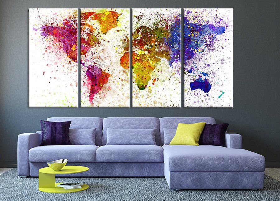 Paint splashes over world map silhouette canvas print 4 panel world paint splashes over world map silhouette canvas print 4 panel world map art large art world map print on canvas gumiabroncs Images