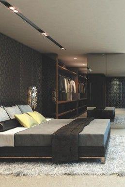 Bedroom Luxury Design Bedroom With Classy Platform Bed With Fur Rug And Black Wallpape Luxury Bedroom Master Minimalist Bedroom Design Masculine Bedroom Design Mens luxury bedroom ideas