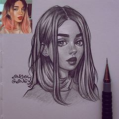 "Angel Ganev on Instagram: ""Sketch of one of my favorite models - @septembrenell 😍✨ I don't know what it is about Russian chicks, but they remove my art block lol…"""