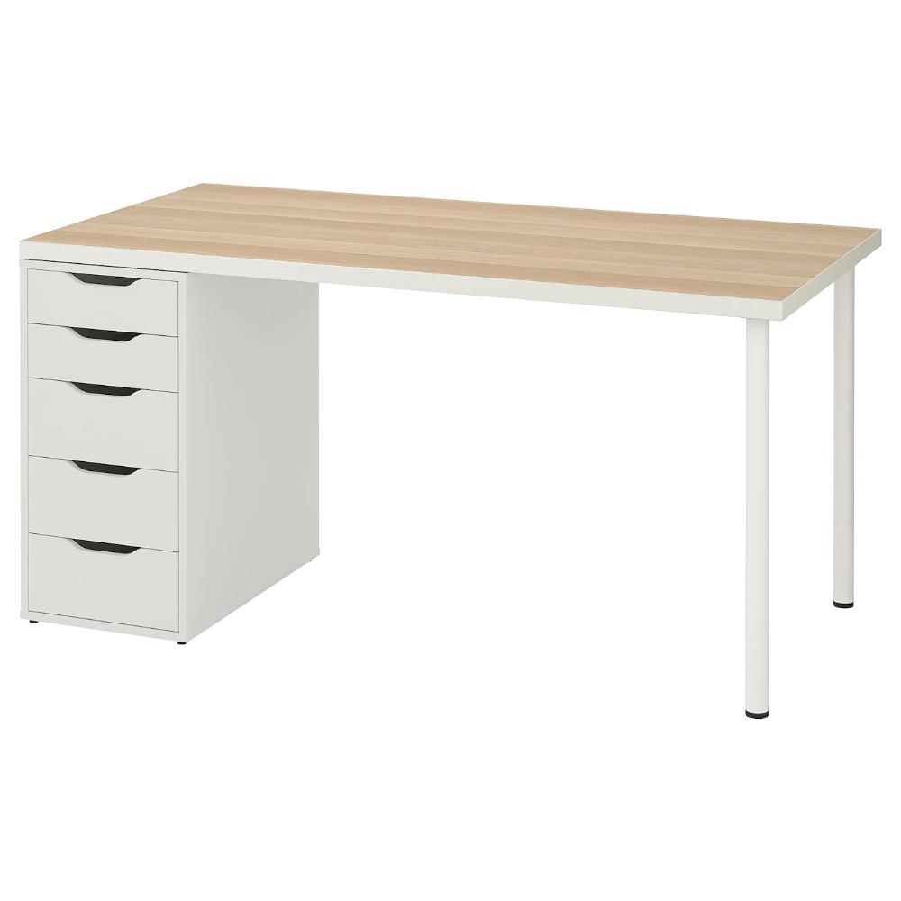 Linnmon Alex Table White White Stained Oak Effect White Ikea In 2020 Ikea Drawer Unit Linnmon Table Top