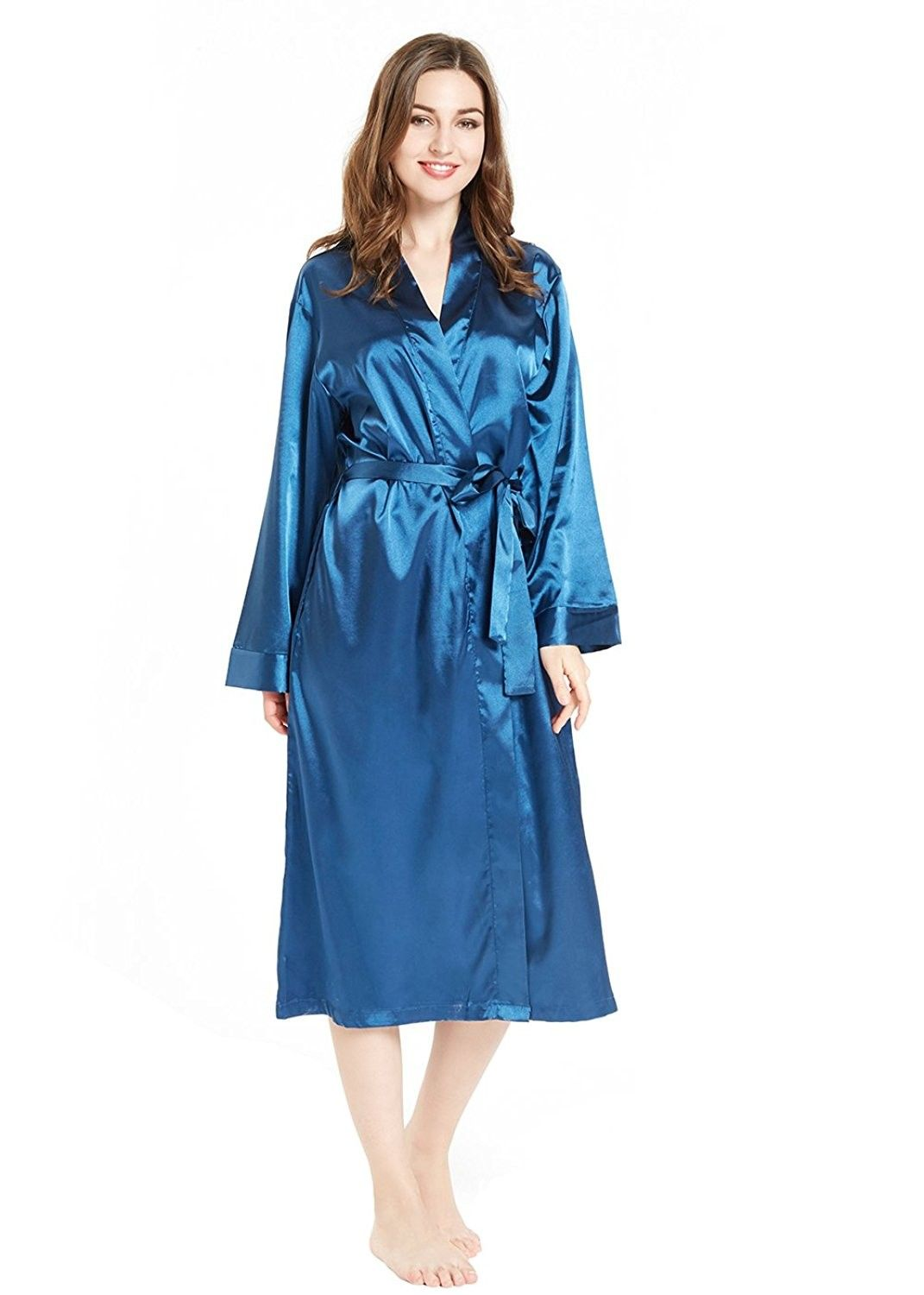 8e65627e2842e Silky Satin Robe for Women- Long Bathrobe Full Length V-Neck ...