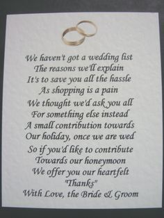 40 Wedding Poems Asking For Money Gifts Not Presents Ref No 2