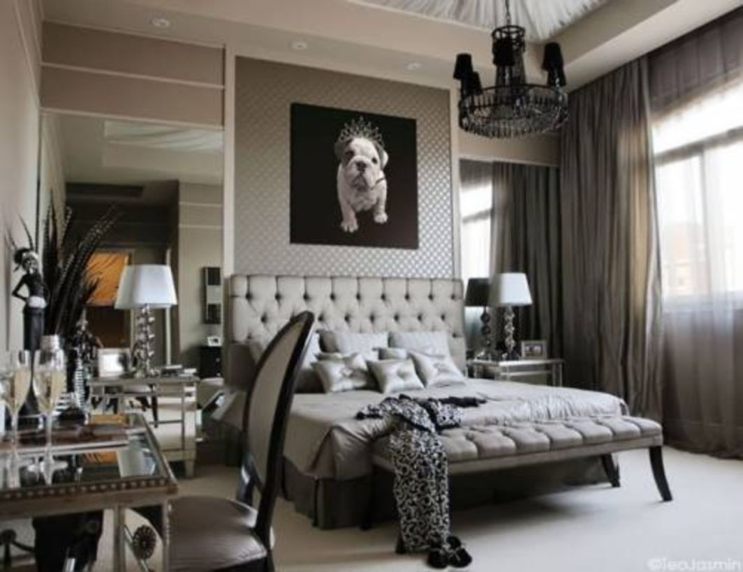 40 luxurious bedroom with grey curtains decor - Black Luxury Bedrooms