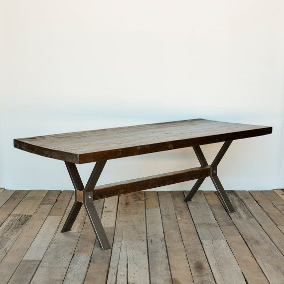 Modern Farm table with thick reclaimed wood top by UrbanWoodGoods