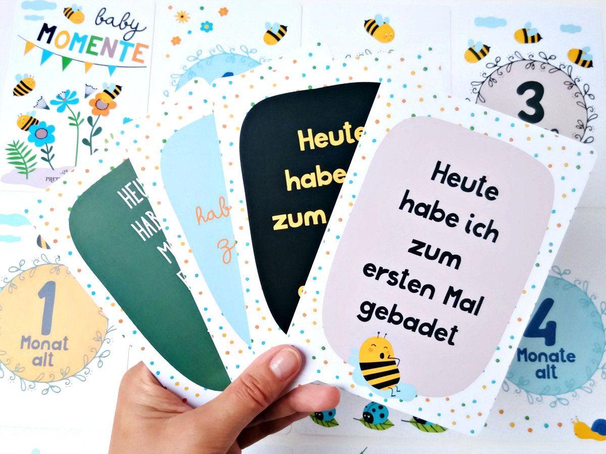 Meilensteinkarten Baby 32 Stk Lebensjahr Geschenk Geburt für Jungen Momente 1