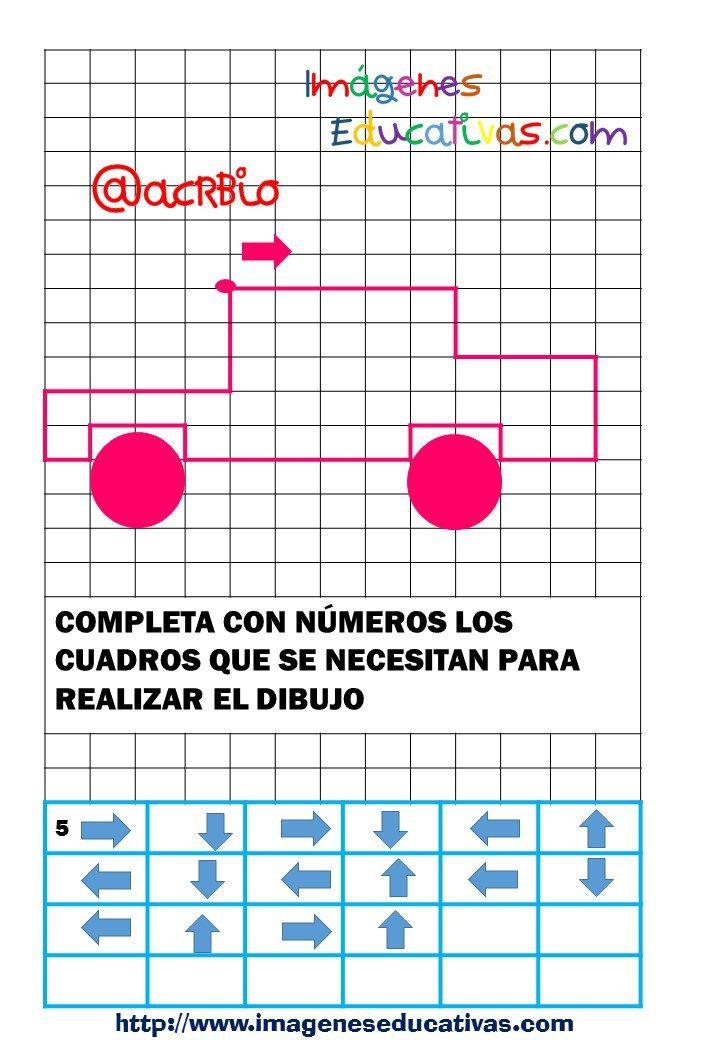 Atención: dibujamos en cuadricula contando cuadros y siguiendo flechas
