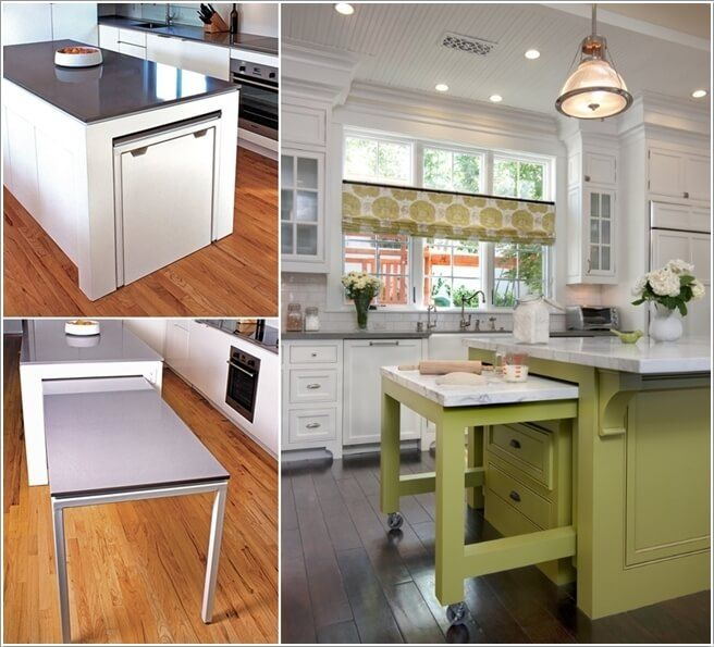 A Hideaway Kitchen Table That Can Work As An Extra Work Surface To