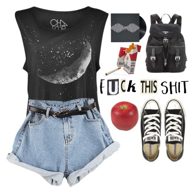 """""""Curent mood"""" by hungry-unicorn ❤ liked on Polyvore featuring Converse, ETUÍ, Nearly Natural, Prada, Americanflat, Silver Lining and Poncho & Goldstein"""