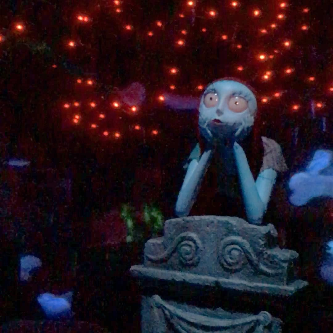 They added Sally to Haunted Mansion! She's in the graveyard around the corner from Jack and looks really cool in person. Cuz, ya know, she's real. She is! #SewReal #NightmareBeforeChristmas