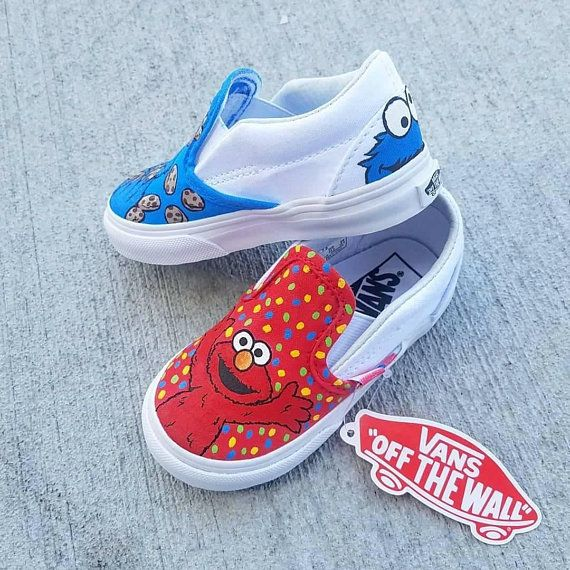 72b40cb1585 Custom Elmo and Cookie Monster Vans Elmo And Cookie Monster