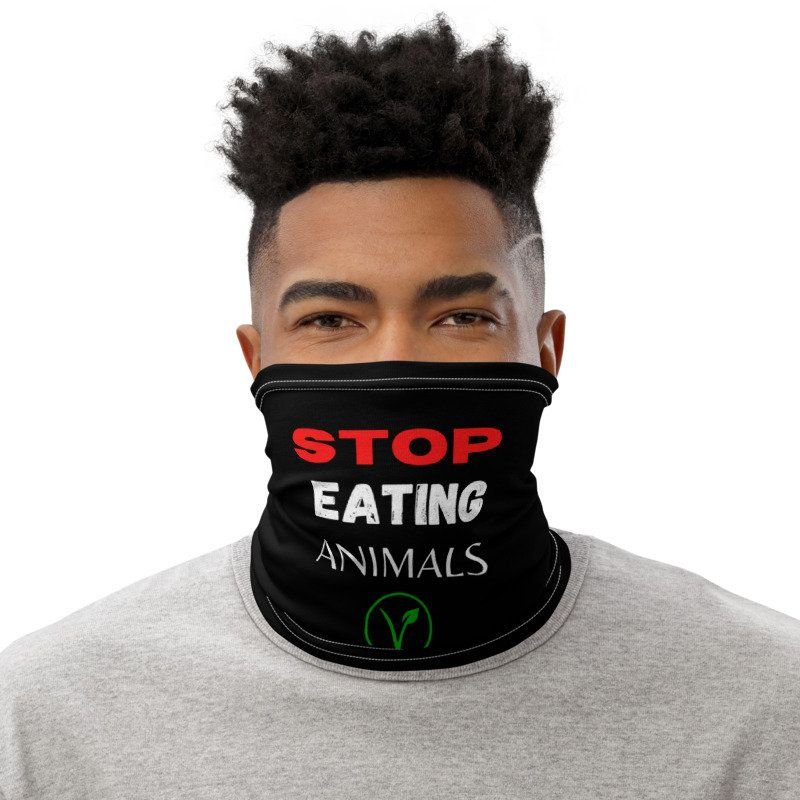Stop Eating Animals Face Mask 20 To Animal Sanctuaries Etsy In 2020 Neck Gaiter Vegan Face Mask Black Lives