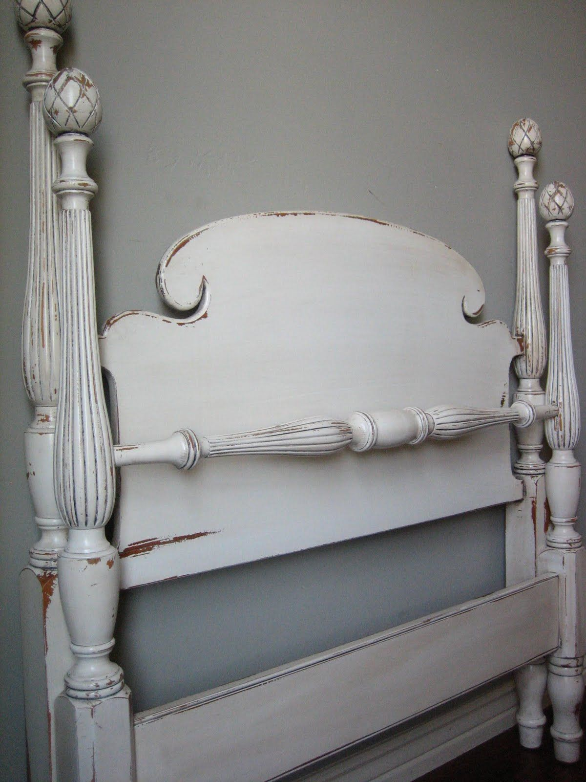 european paint finishes: pineapple twin bed - white | junktiques