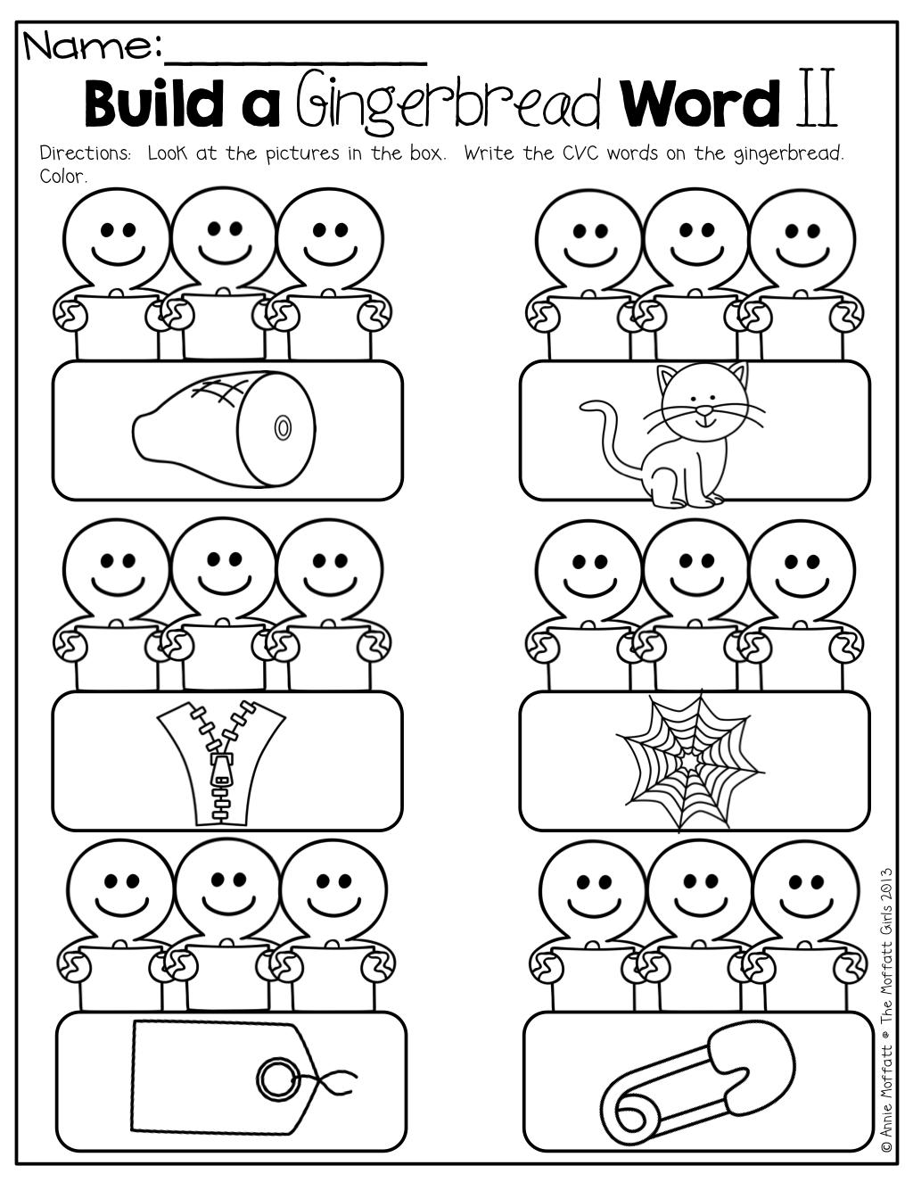 Build A Gingerbread Cvc Word Christmas Kindergarten Kindergarten Fun Word Work Kindergarten [ 1325 x 1024 Pixel ]