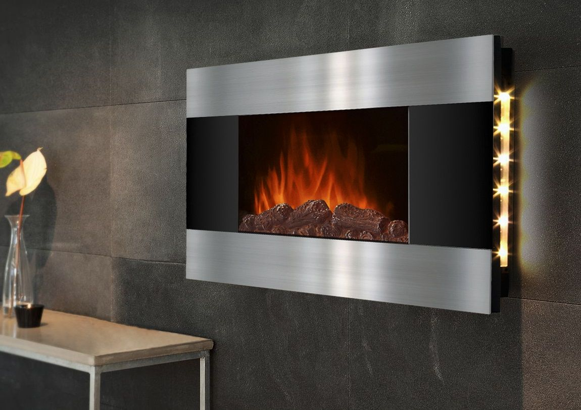 Wall Mounted Fireplace With Backlit Led