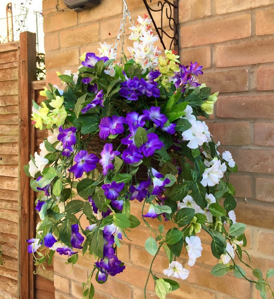 Large New Ready To Hang Artificial Trailing Flower Hanging Basket HANDMADE  In Garden U0026 Patio,