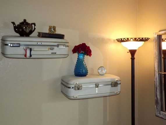 Vintage Suitcase Shelves by QuirksByAnnie on Etsy, $75.00 | #vintage #suitcase #shelves #home #decor