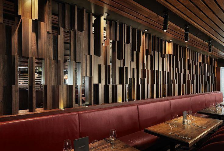 Restaurant wood wall panel design w a l c n d y