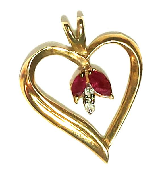 Genuine Marquis Ruby And Diamond Heart Shaped Pendant In