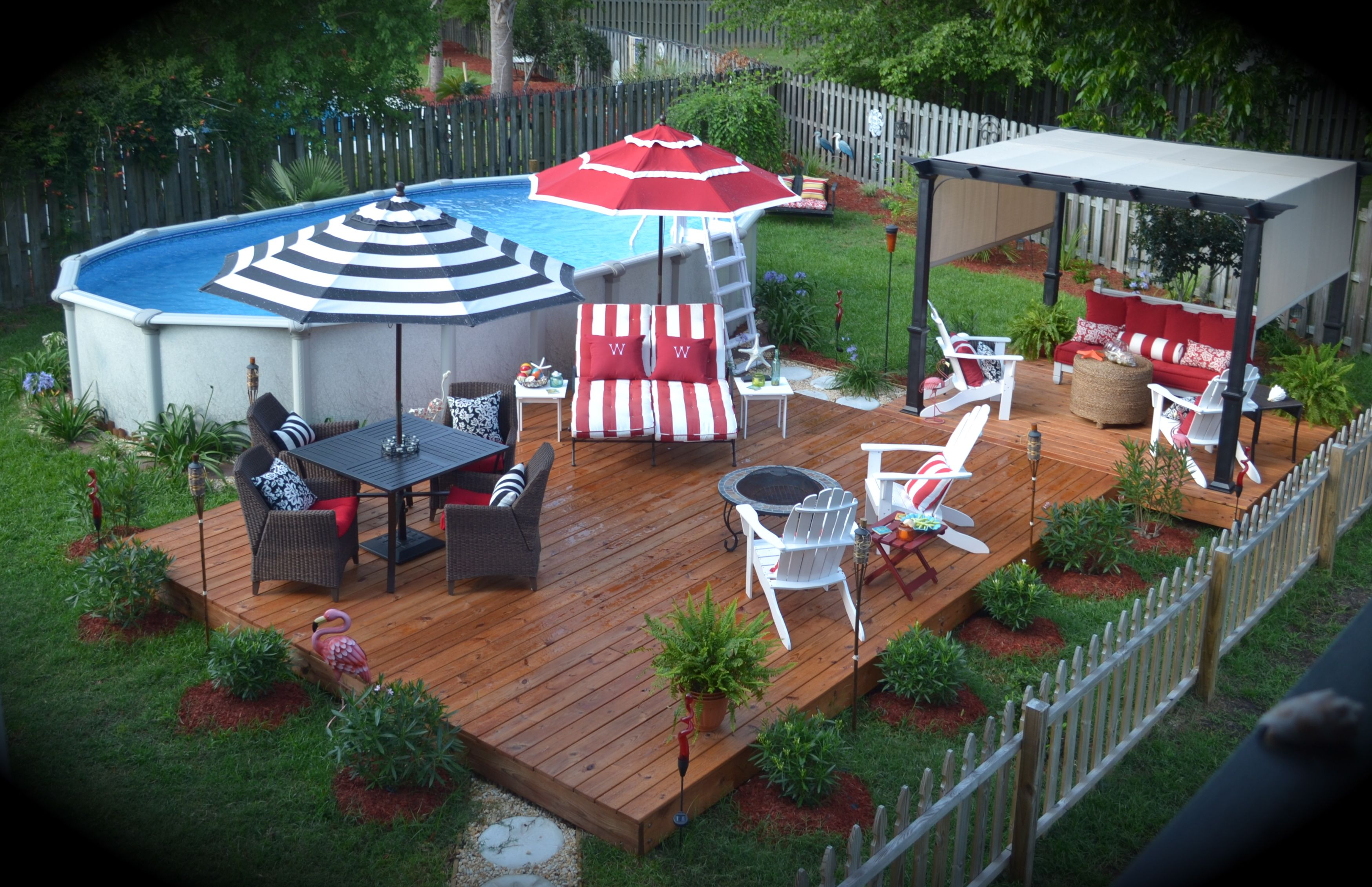 Outdoor ideas on pinterest above ground pool outdoor - Backyard above ground pool ideas ...