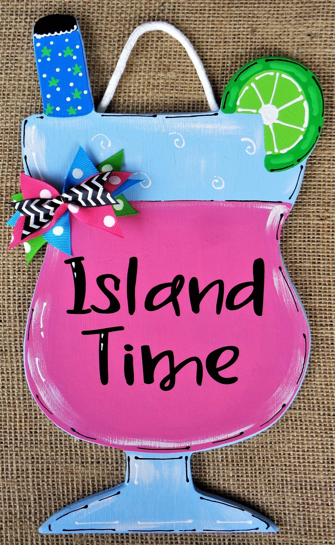 Island Time TROPICAL DRINK SIGN Seasonal Wall Plaque Home Fa…