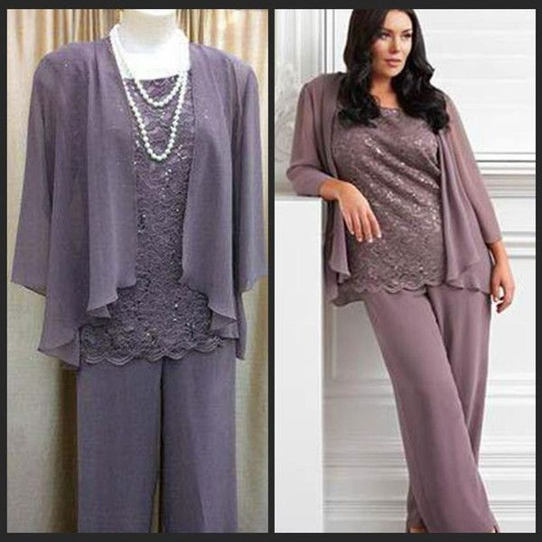 Mother of The Bride Pants Suits Lace Top Tunic Chiffon Trousers ...