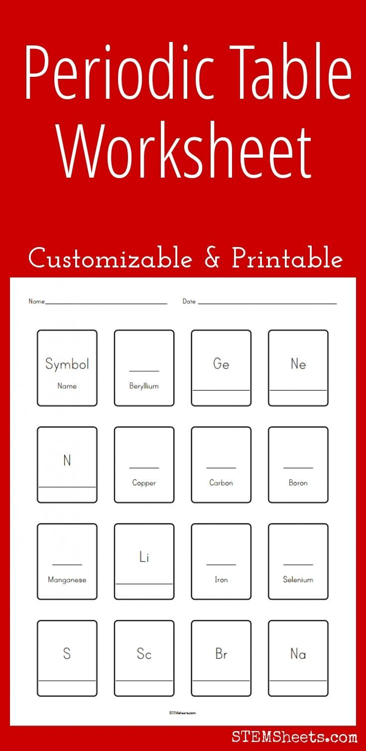Customizable And Printable Periodic Table Worksheet Science Stem