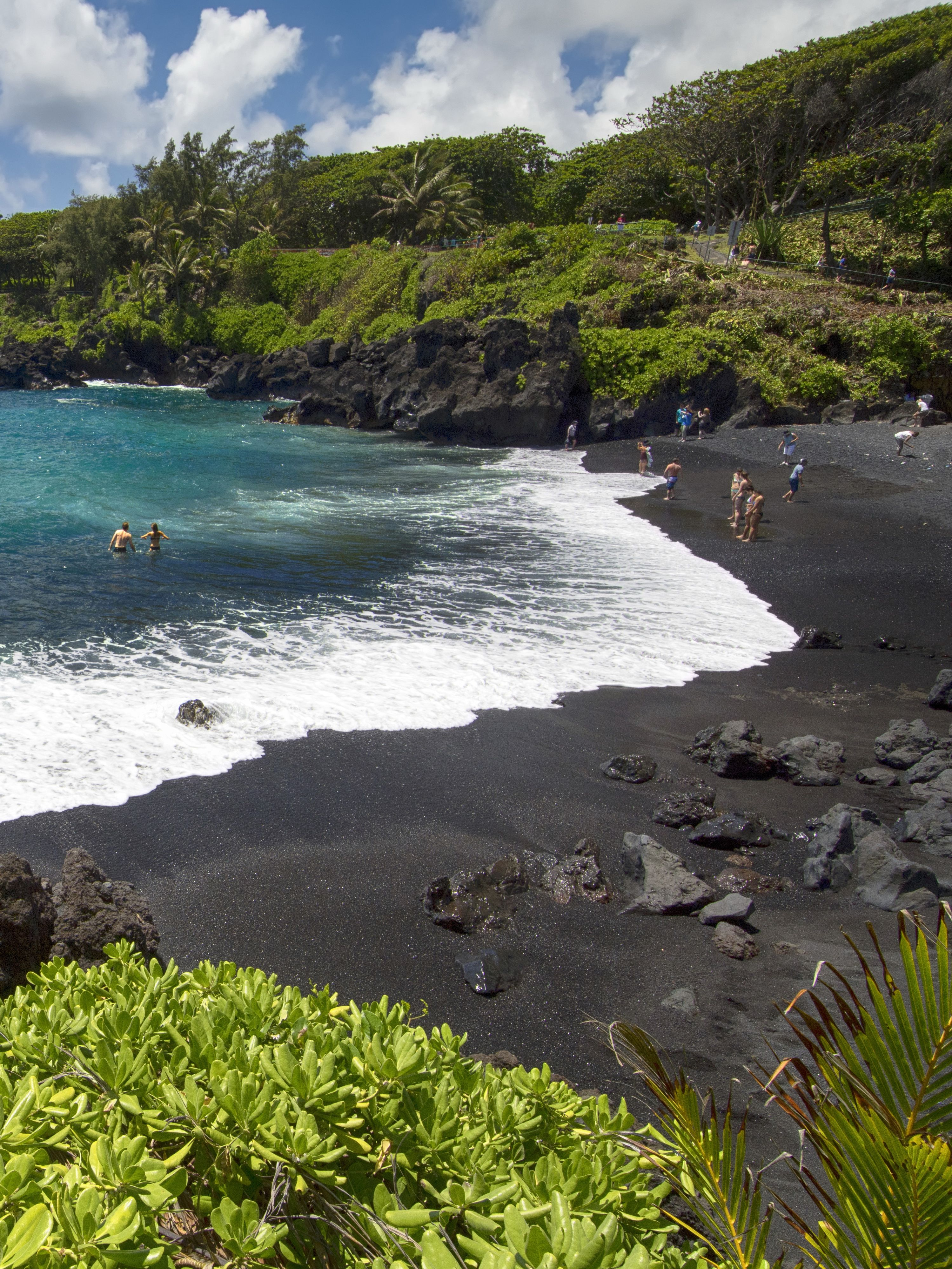 Punaluu Black Sand Beach Hawaii Island