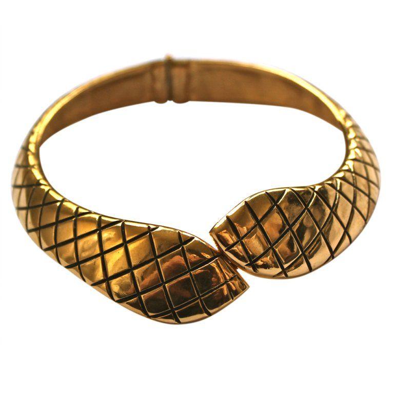 76e7ca4cbd2 YVES SAINT LAURENT gilt snake collar in 2019 | My 1stdibs Favorites ...