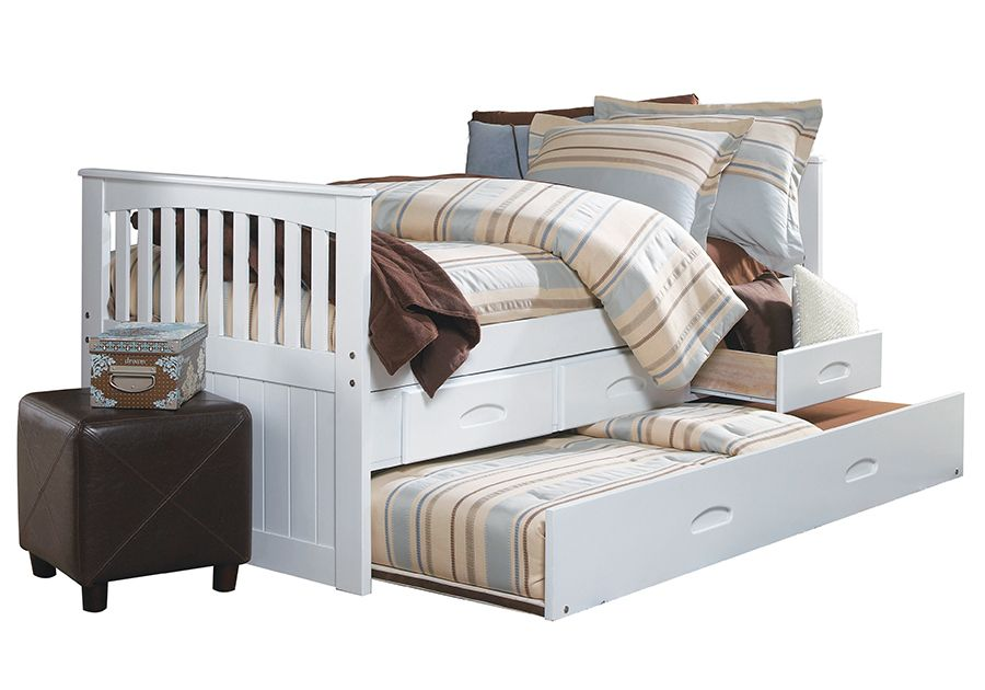 Forrester White Twin Trundle Bed Twin Trundle Bed Bed Trundle Bed