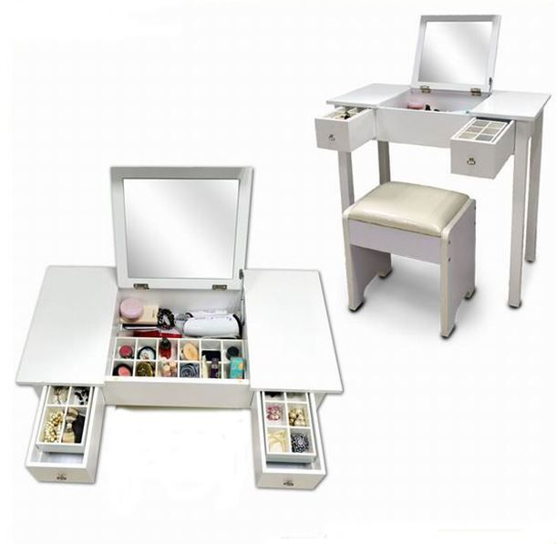 Dressing Table With Folding Mirror This Wooden Comes In White The Following Features 2 Drawers 4 Compartments Lift Up