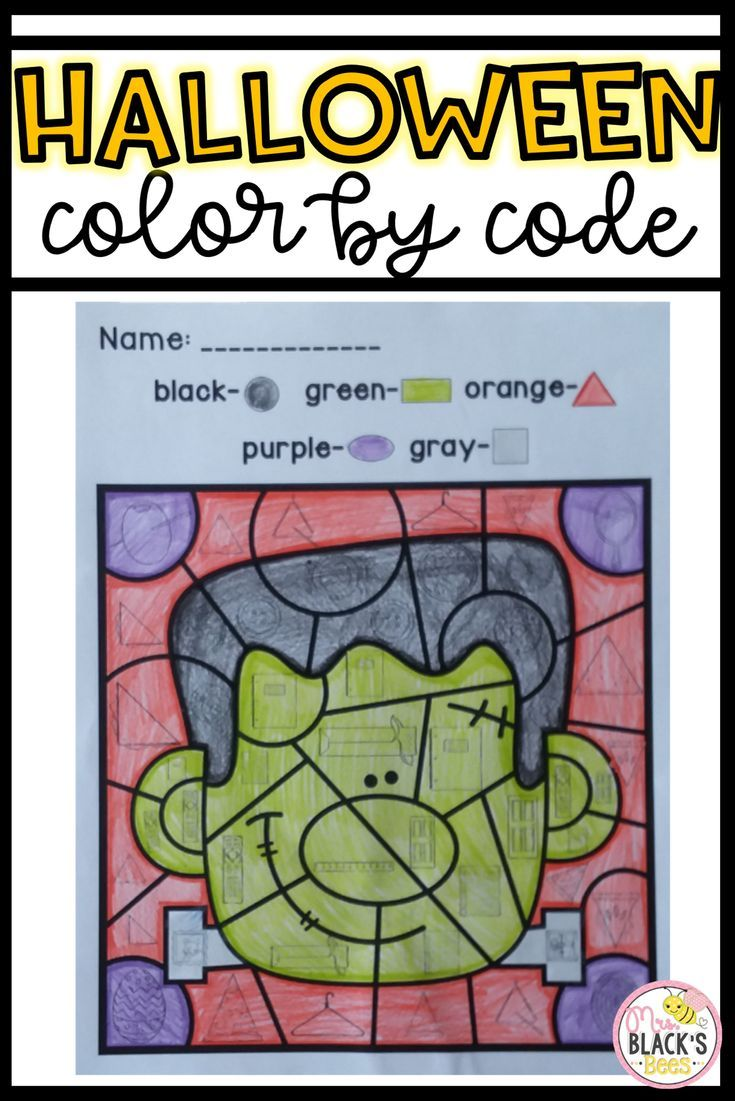 Halloween- Color by Code | Halloween pictures, Motor skills and ...