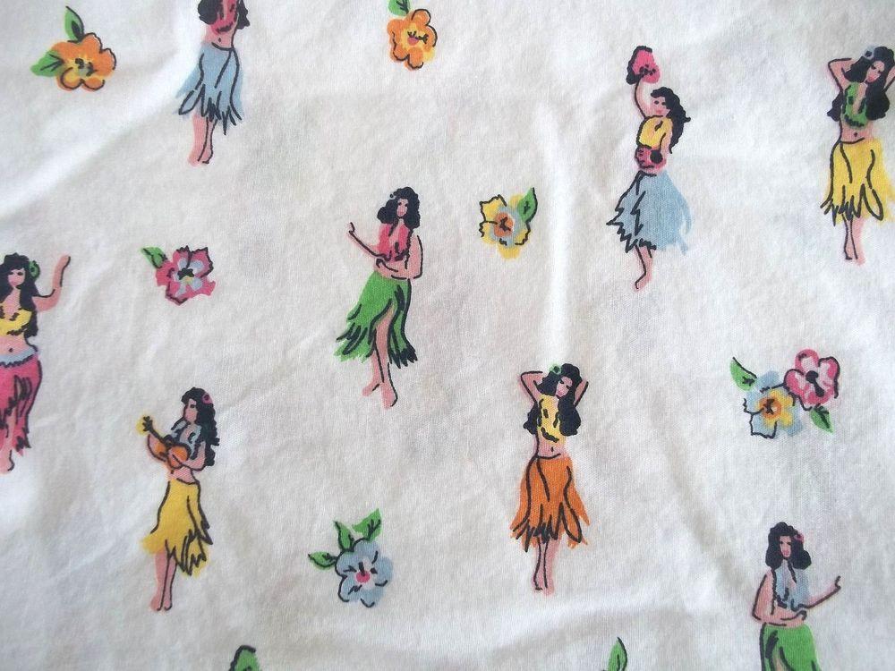 Tommy Hilfiger Hula Girls Leis Full SHEET 2.5 Yards Fabric 100% Cotton #TommyHilfiger