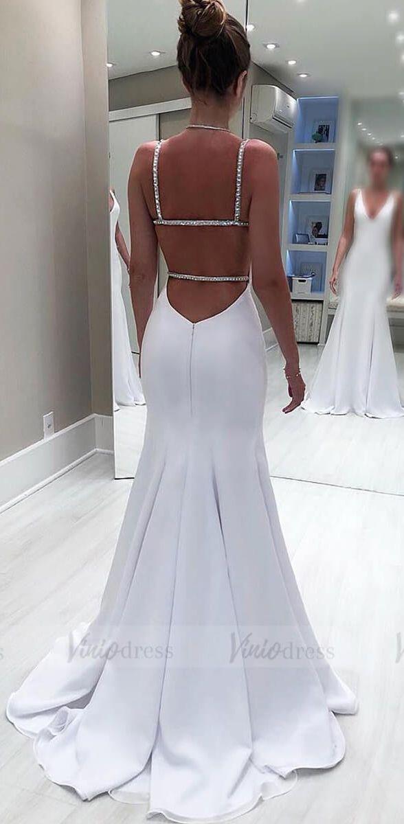 Einfache Pure White Mermaid Brautkleider mit Sexy Open Back VW1329
