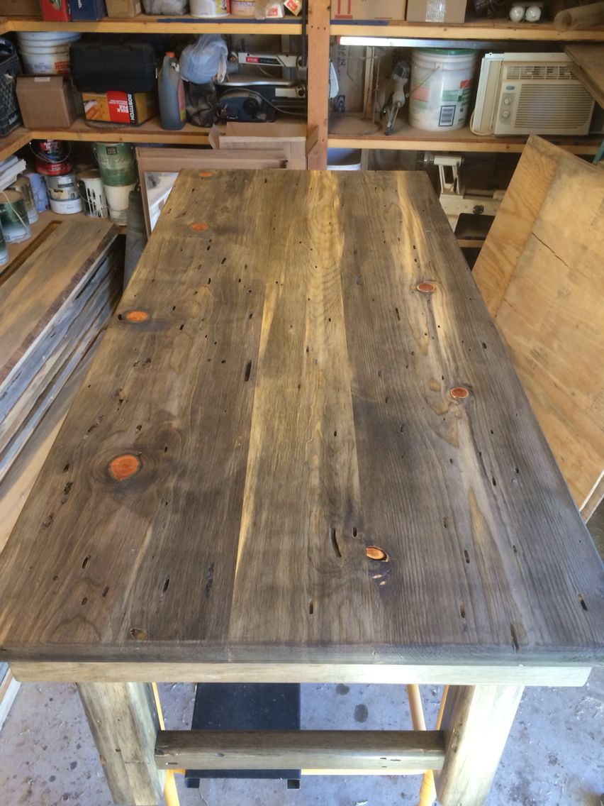 Beetle Kill Blue Stain Pine End Table Wood