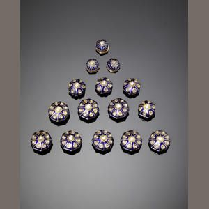 Six Indian diamond-set and enamelled gold Buttons (12)