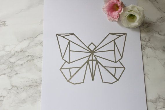 Geometric Butterfly Foil Print Origami By TUMBLEANDROSE