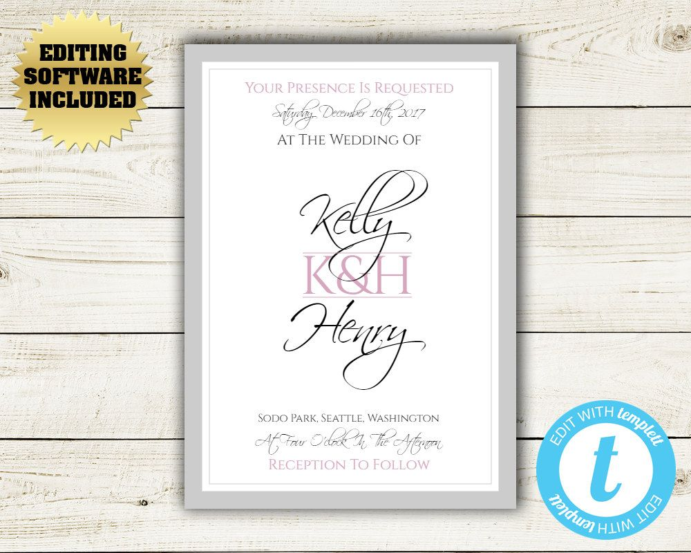 Modern Initials Wedding Invitation Template - Pink and Grey Wedding ...