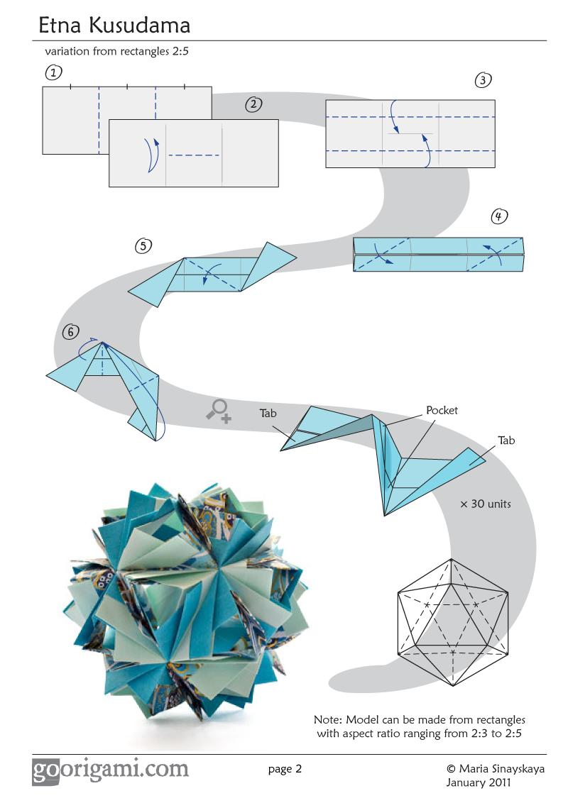 Photo of Etna Kusudama by Maria Sinayskaya — Diagram | Go Origami