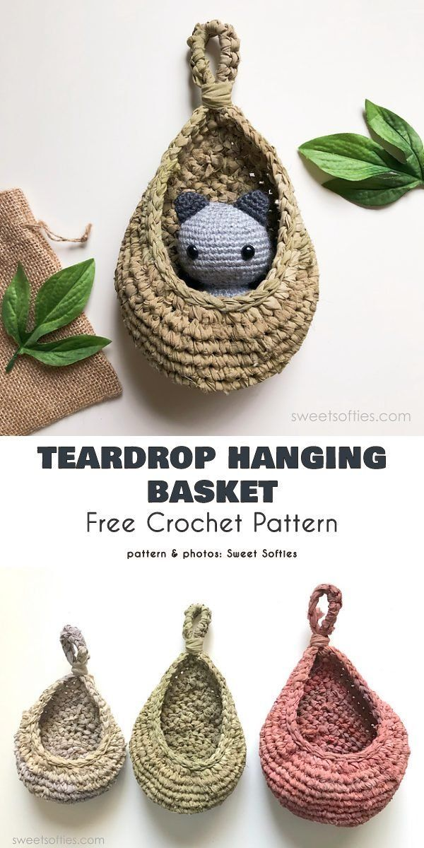 Small Hanging Basket Free Crochet Patterns Perfect basket for small plants or items.