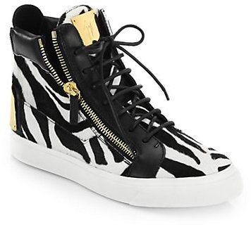 88248a16a4f Giuseppe Zanotti Zebra-Printed Calfhair High-Top Sneakers   My Shoe ...