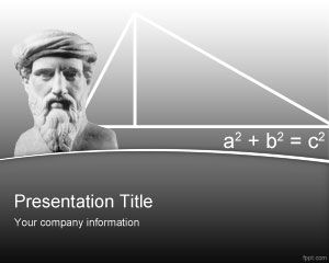 Free Pythagoras Powerpoint Template With Gray Background Education